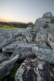 Landskap solig gryning i ett fält Royaltyfri Fotografi