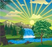 Landskap - soluppgång över en vattenfall Arkivbild