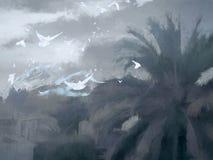 Landskap stranden deserterade sonen för havet för handömodern specificerar stormen Arkivfoton