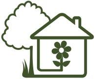 Landskap symbol - trädet, huset, blomman och hemmet arbeta i trädgården Arkivbild