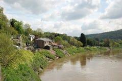 Landskap Tintern med Wye River, Wales, Förenade kungariket Royaltyfria Bilder