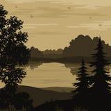 Landskap, träd och flodkontur stock illustrationer