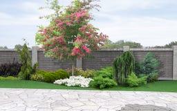 Landskap trädgårds-bakgrund, tolkning 3d Arkivfoto