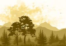Landskap, träd och berg Royaltyfri Foto