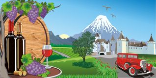 Landskap-vin, druvor och en trätrumma för vin Arkivbilder