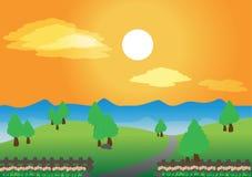 Landskapbakgrund Arkivfoto