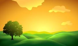 Landskapbakgrund med trädkontur 2 Vektor Illustrationer