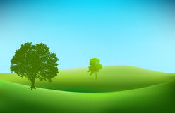 Landskapbakgrund med trädkonturer Arkivbild
