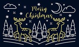 Landskapbaner för glad jul, översiktsstil vektor illustrationer