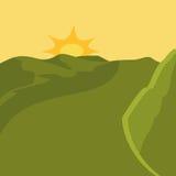 Landskapbegrepp sol- och bergsymbol som stylized swirlvektorn för bakgrund det dekorativa diagrammet vågr Royaltyfri Foto