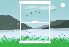 Landskapberg utanför för inredesign för spegel plant G för visning stock illustrationer