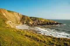 Landskapbild av en strand i Wales Fotografering för Bildbyråer