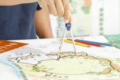 Landskapdesignritningar för semesterort royaltyfri bild