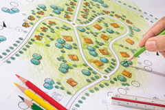 Landskapdesignritningar för semesterort Arkivbild