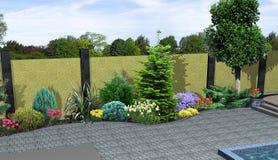 Landskapdesignväxter som grupperar, 3D framför Royaltyfri Foto