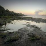 Landskape. Sunrise, heavy fog over the river Royalty Free Stock Images