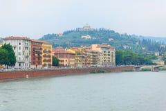 Landskape near bridge in Verona, Italy. Landskape near Saint Peter bridge and Adige river in Verona, Italy Stock Photo