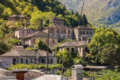 Traditional house and village in the mountain in Greece in the Zagoria region. National park of Pindus mountain