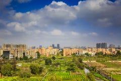 landskapet av den stads- staden i guangzhou Kina Arkivbild