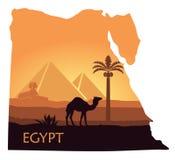 Landskapet av Egypten med en kamel, pyramiderna och sfinxen i form av översikter royaltyfri illustrationer