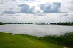 Landskapet av Taihu sjön arkivbild