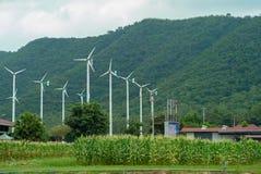 Landskapet av väderkvarnar brukar för utveckling av elektriciteten royaltyfri fotografi
