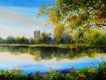 Landskapet för olje- målning - rockera nära sjön, träd över vattnet royaltyfri bild