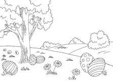 Landskapet för svart för diagrammet för påskägget skissar det vita illustrationvektorn Fotografering för Bildbyråer