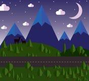 Landskapet för vektorillustrationberget bredvid vägen, kullarna täckas med skogar, den månbelysta natten, stjärnor i Arkivfoton