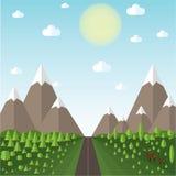 Landskapet för vektorillustrationberget bredvid vägen, kullarna täckas med skogar, klara himmelmoln och solen Arkivfoto
