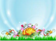 Landskapet för vektorillustrationsommar med gräsplansidor och rosramen blommar royaltyfri illustrationer