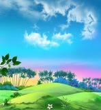 Landskapet med gömma i handflatan mot den blåa himlen Arkivfoton
