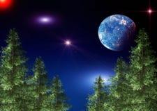 Landskapet med sörjer träd och natthimlen med stjärnor stock illustrationer