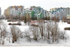 Landskapet parkerar Mitino, naturligt historiskt parkerar moscow russia arkivfoton