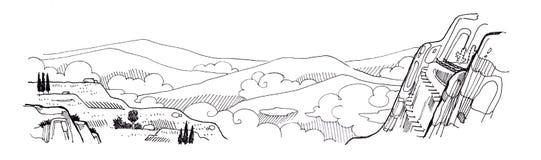 Landskapfantasiteckning av det bergscapemolnet och trädet Royaltyfri Bild