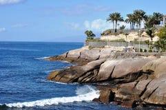 Landskaplandskap av Costa Adeje, Tenerife Fotografering för Bildbyråer