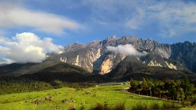 Landskaplandskapsikt av berget Kinabalu Arkivbild