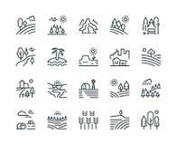 Landskaplinje symboler Naturen parkerar träd för bergkulleskogen och bygdträdgården, industriell megapoliscityscape royaltyfri illustrationer