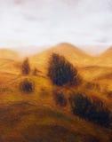Landskapmålning Diverse och träd Berg i bakgrunden royaltyfri fotografi