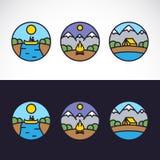 Landskapnatur Logo Template Set för utomhus- sportar Royaltyfri Fotografi