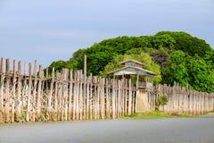 Landskapsikt av den träUbein bron i Amarapura, Myanmar Arkivbild