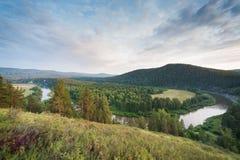 Landskapsikt av floden Belaya Royaltyfri Bild