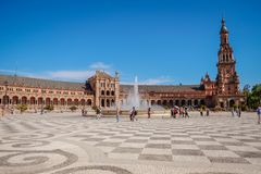 Landskapsikt av Plaza de Espana seville spain royaltyfri bild