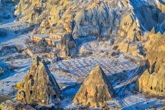 Landskapsikt från ballongen, Capadoccia, Turkiet Fotografering för Bildbyråer