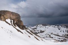 Landskapsikt från den Hochtor tunnelen på Grossglockner den höga alpina vägen Arkivfoton
