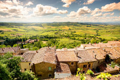 Landskapsikt i Montepulciano arkivfoton