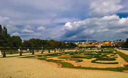 Landskapsikten till belvederen parkerar, Wien, Österrike royaltyfri bild