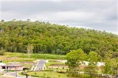 Landskapslutsikt av ett berg med en grön skog nära till t arkivbilder