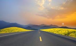 Landskapsolnedgång med vägen Arkivbild