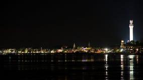 Landskapstad på natten royaltyfria foton